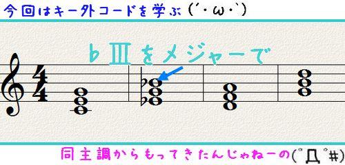 使えるキー外のコード(非ダイアトニック)~メジャーキーで♭Ⅲ(CキーでE♭)