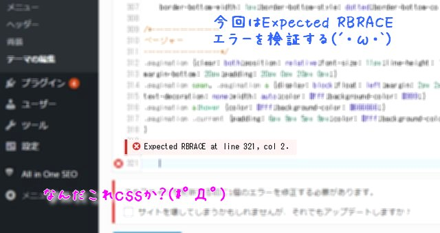 CSSの『Expected RBRACE 』エラーって何なの?(WordPress4.9で判明)