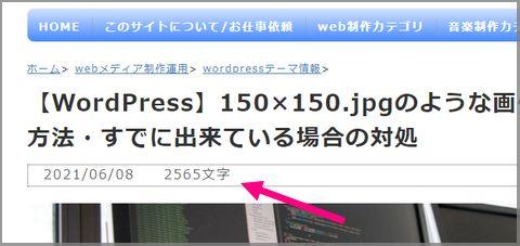 WordPressで、記事文字数をカウントして、フロント出力 表示例