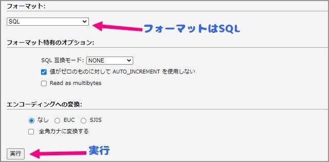新サイト・phpmyadminで、SQLインポート
